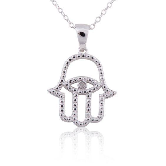 Sterling Silver Diamond Accent 18-inch Hamsa Evil Eye Pendant Necklace