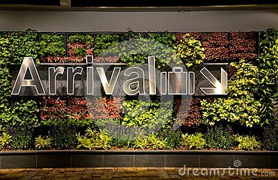 Arrival sign and flowers at Singapore Changi airport Editorial Stock Photo
