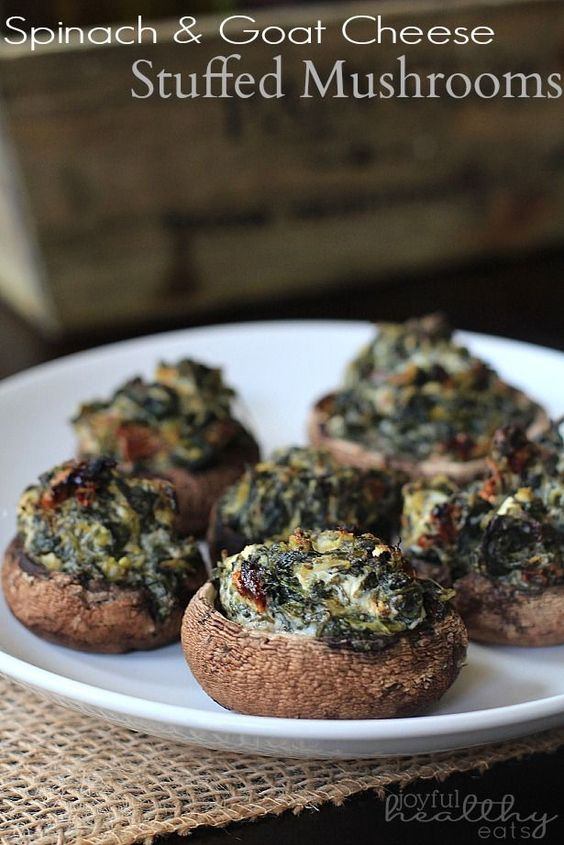 Spinach & Goat Cheese Stuffed Mushrooms. | joyfulhealthyeats.com | #appetizer #food #healthy #snacks #mushrooms
