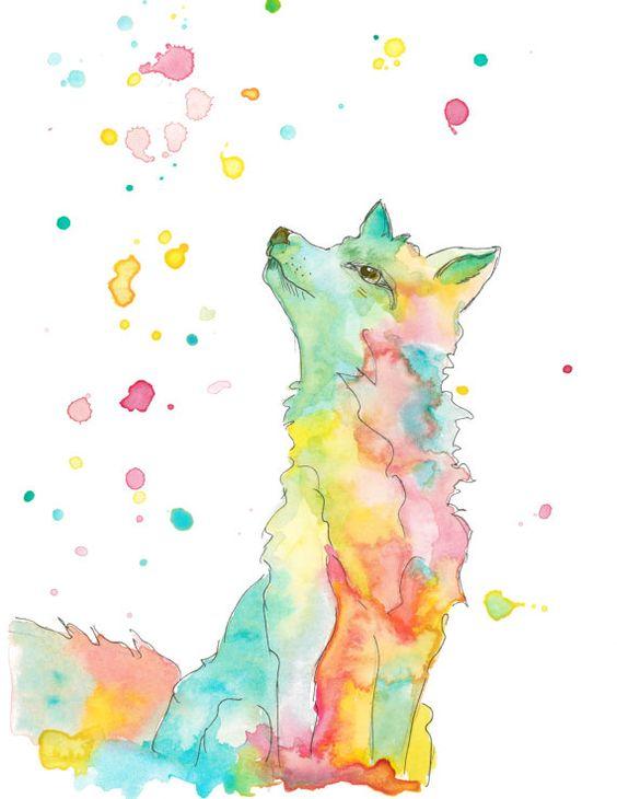 Sitting fox illustration - photo#19