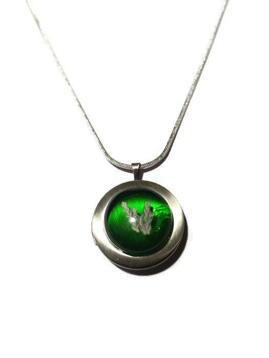 Moss Green and Sterling Silver Locket, Sterling Silver Photo Locket, Sterling Silver Pendant locket by thejeremiahtreeglass. Explore more products on http://thejeremiahtreeglass.etsy.com