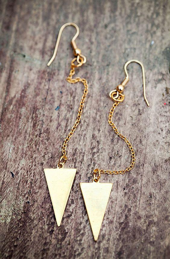 Chevron Brass Charm Chain Earrings