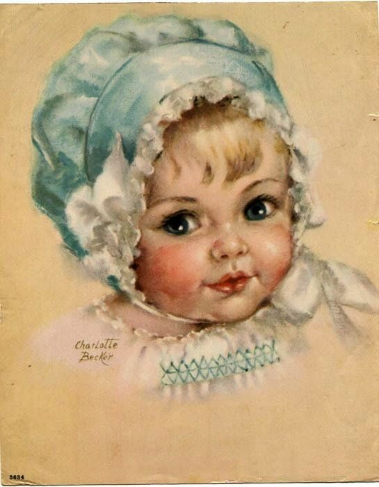 Charlotte Becker - Baby with Bonnet and a sweet smocked dress
