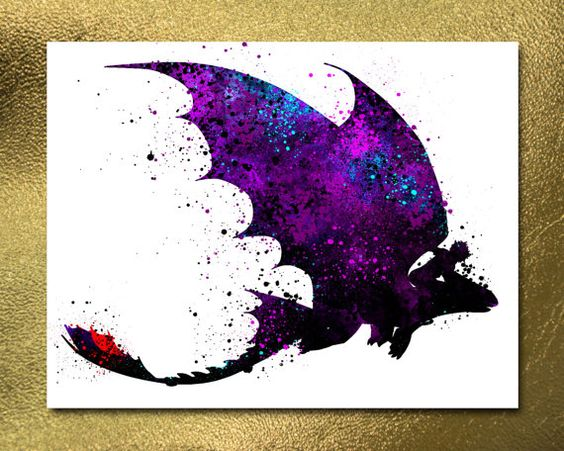 How to train your DRAGON, Instant Download, Toothless Poster, DRAGON Poster, Night fury, Watercolor Poster, Nursery Poster, Kids Poster