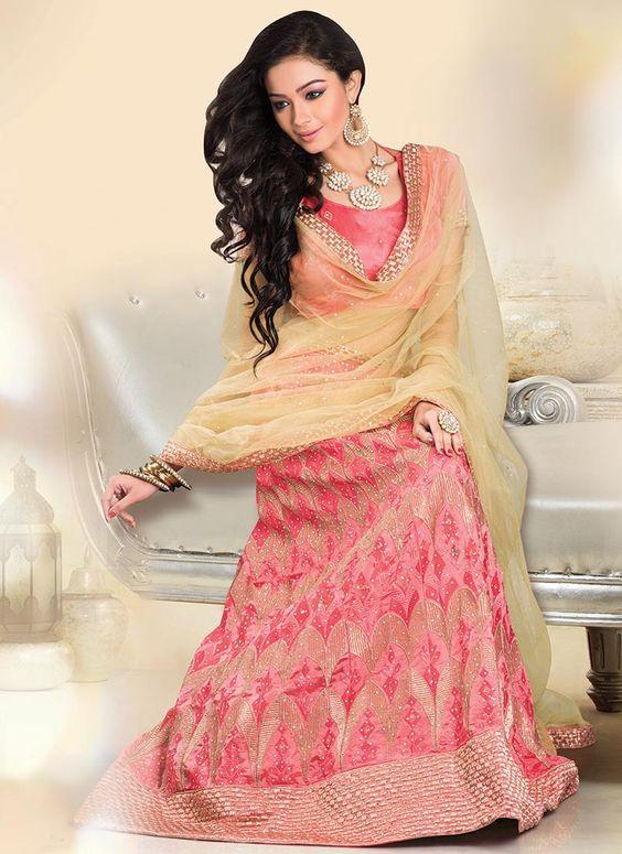 Pink Pure Dupion Silk Lehenga Choli