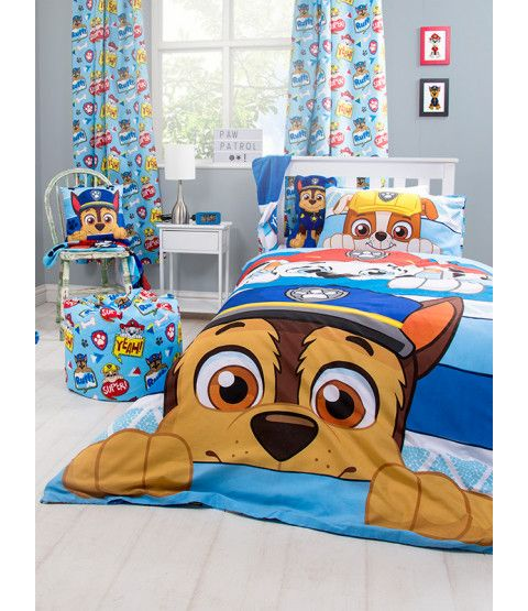 This Cotton Mix Paw Patrol Peek Single Duvet Cover Set Features Chase Marshall And Rubble And Is R Paw Patrol Bedroom Decor Paw Patrol Room Paw Patrol Bedroom