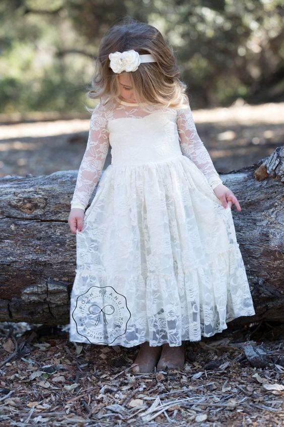 lace girl dress flower girl dress flower girl by PoshPeanutKids