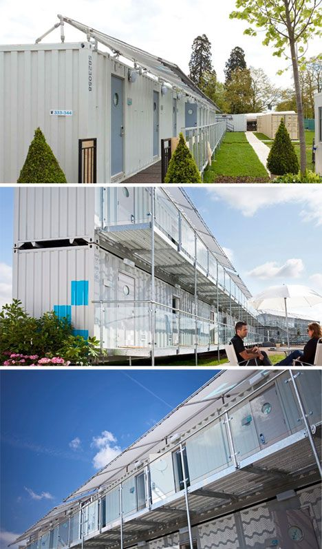 Almost popup 15 pre fab and shipping container hotels for Pre built shipping container homes