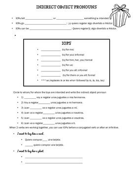 Spanish Indirect Object Pronoun Worksheets (IOPs) | Spanish, In ...