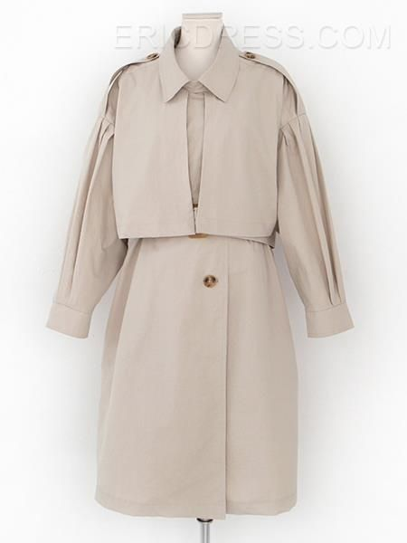 Ericdress Double-Layer Polo Collar Belt Trench Coat Trench Coats