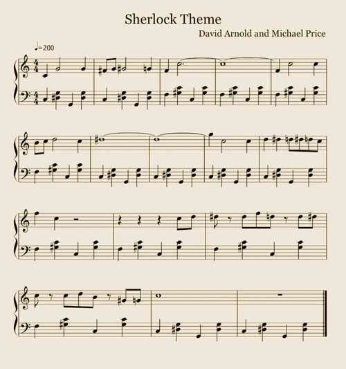 Sherlock Theme Sheet Music!!