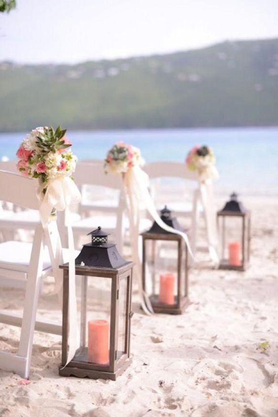coral beach wedding aisle decoration ideas