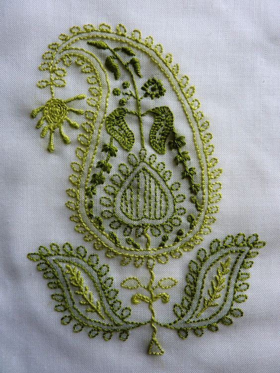 Embroidery paisley and green on pinterest