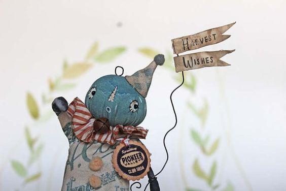 Fil À Sophie whimsical spun cotton primitive folk art pumpkin doll miniature for your harvest fall decoration! Nostalgische Primitive Folk Art Figur Kürbis Pumkin von FilASophie