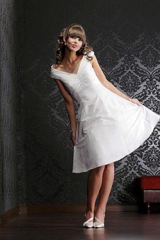 Brautkleid / Standesamt Kleid knielang  Satin