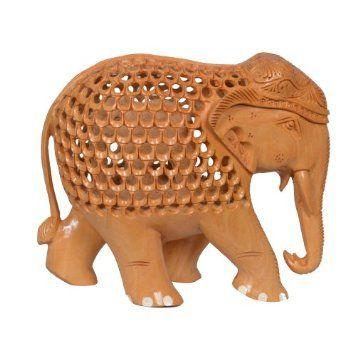 Amazon.com: Indian Decoration Elephant Figurine Wooden Artwork Home Furnishing: Home & Kitchen