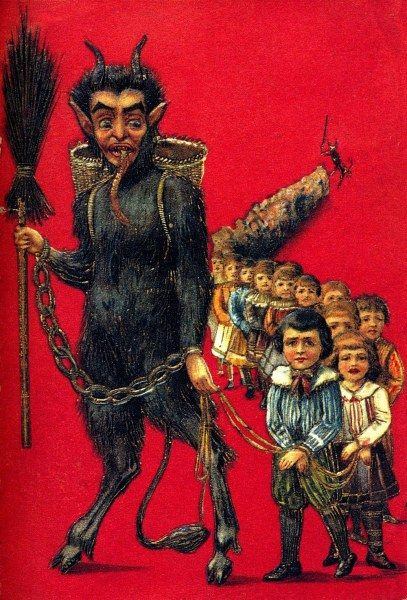 """Here's what a """"Traditional Christmas"""" looks like.  Krampus punishing bad children"""
