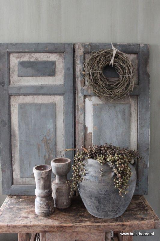 Set van twee oude luiken landelijk wonen en decoratie pinterest grijs en cottages - Decoratie industriele huis ...