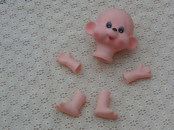 Monkey Doll Head, Hands, and Feet Doll's Heads Vintage Craft Supply, Made in Korea