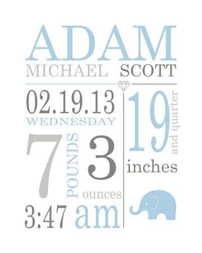 baby boy birth stats, nursery subway art with birth date print, stats