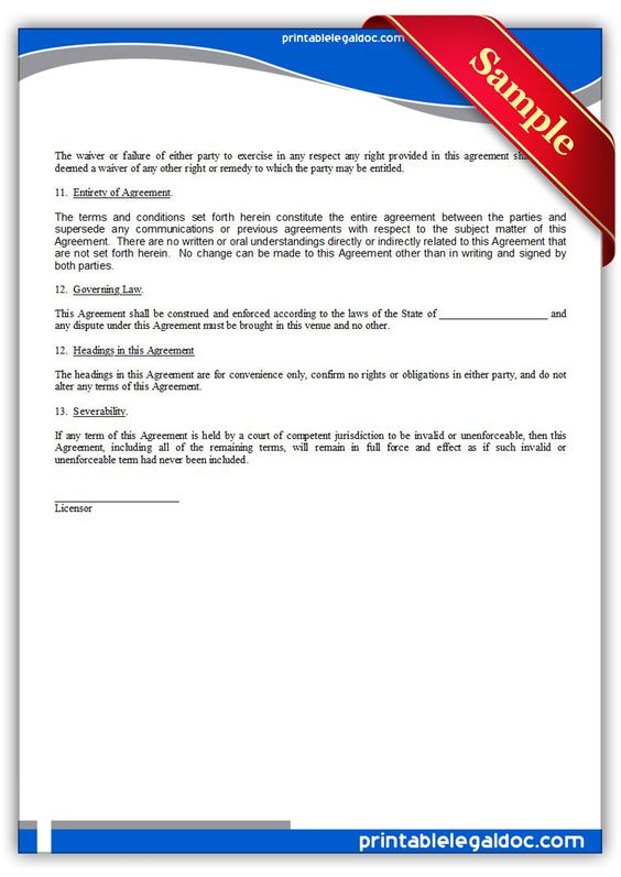Printable Software License Enduser Template  Printable Legal