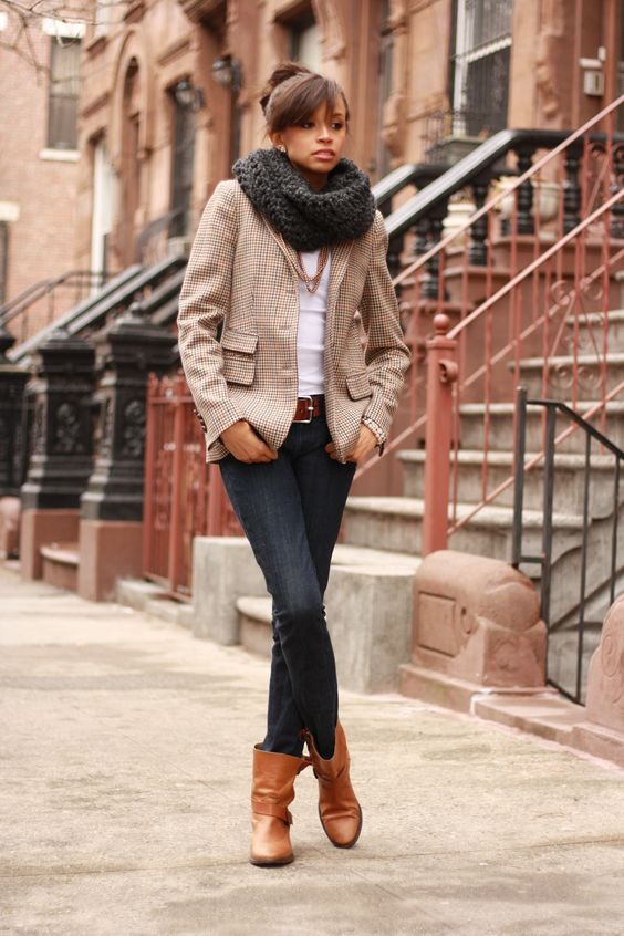 Giant scarf, white fitted, jacket, denim & booties!
