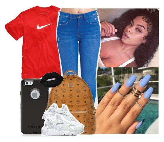 """✨"" by saucinonyou999 ❤ liked on Polyvore featuring NIKE, Billabong, MCM and Lime Crime"