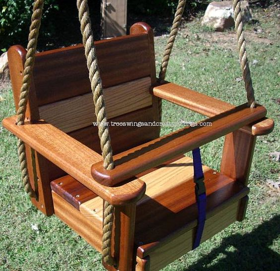 Wood tree swing oakipele kids seat swing trees kid and for How to make wooden swing seat