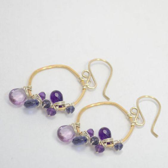 Olivia Collection  Purple Wraps Gold Dangle by VannucciLTD on Etsy, $64.00