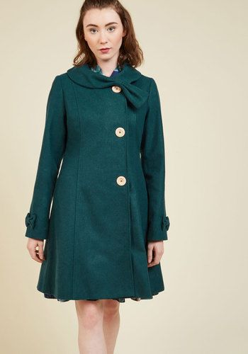 Treat yourself to a cross-country trip in this green coat, and rival the window-seat view with your incredible style! The soft, bow-accented collar of this feminine offering from our ModCloth namesake label will keep you toasty, as its round buttons are sure to collect compliments from fellow travelers. What a fine choice for your vacation in 'loco-motion'!