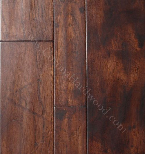 Hickory distressed gunstock engineered flooring kitchen for Distressed wood flooring
