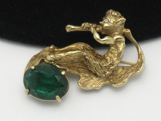 Unique  ERWIN PEARL Mythological Creature Emerald Glass Brooch