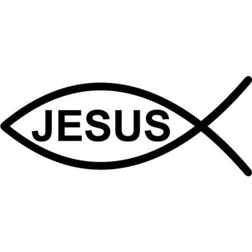Jesus fish symbol large vinyl wall decal fish for Christian fish symbol meaning