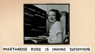"""Martharose Bode is inking supervisor"": (From the ""Ingeborg Willy Scrapbook"" (1936-1937))"