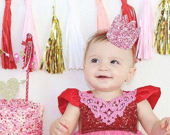 Valentine || Sprinkle Candy Crowns|| cake topper || cake smash || headband option || photo prop || choose ONE