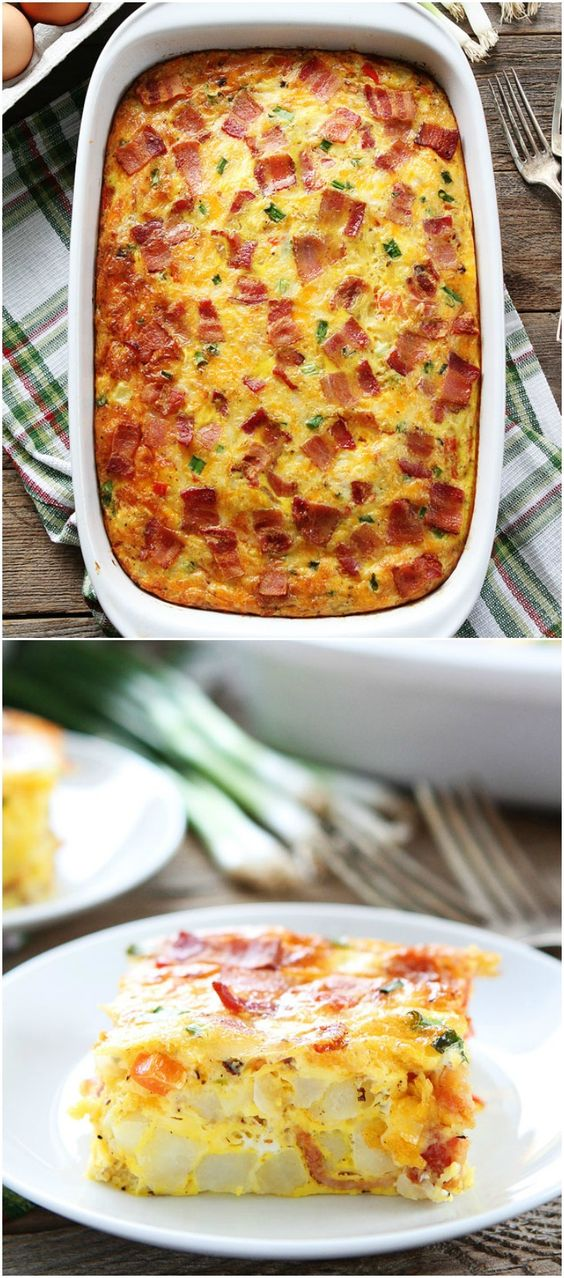 Bacon, Potato, and Egg Casserole Recipe on twopeasandtheirpod.com This easy breakfast casserole can be made in advance. It is the perfect for Christmas morning!