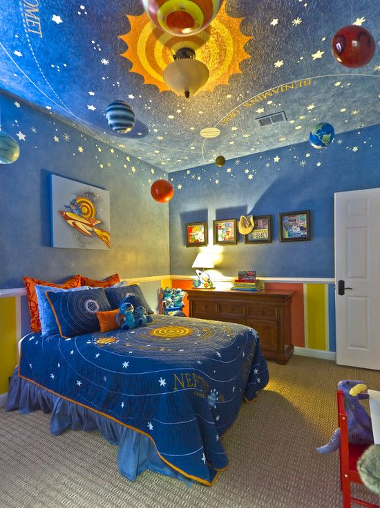 The Solar System inspired toddler\u0027s room is filled with hand-painted