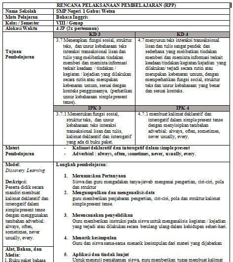 Rpp 1 Lembar Ips Kelas 8 Semester 1 Pelajaran Bahasa Inggris Inggris Kurikulum