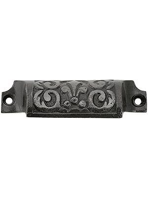 """Antique Drawer Pull. 3 5/8"""" Cast Iron Fleur De Lis Bin Pull With Lacquered Antique Finish Kitchen?"""
