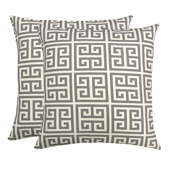 Massengale Happy Hannukah Indoor Outdoor Throw Pillow Greek Key Set