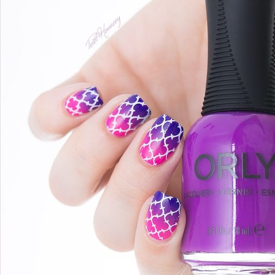 White stamping over pink to blue gradient