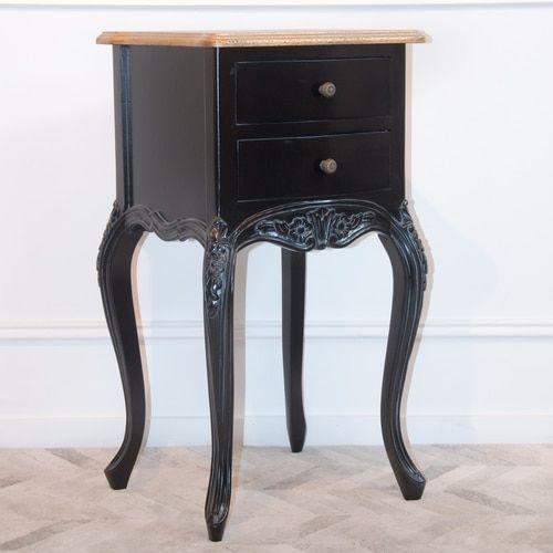 Charmant 2 Drawer Bedside Table Black Gold Black Bedside