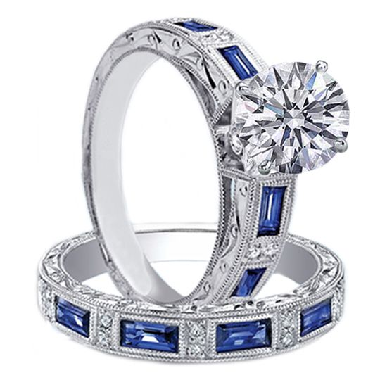 engagement ring & matching wedding band bridal set