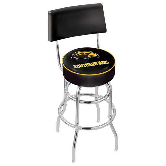Chrome Southern Miss Golden Eagles Double-Rung Swivel Back Bar Stool
