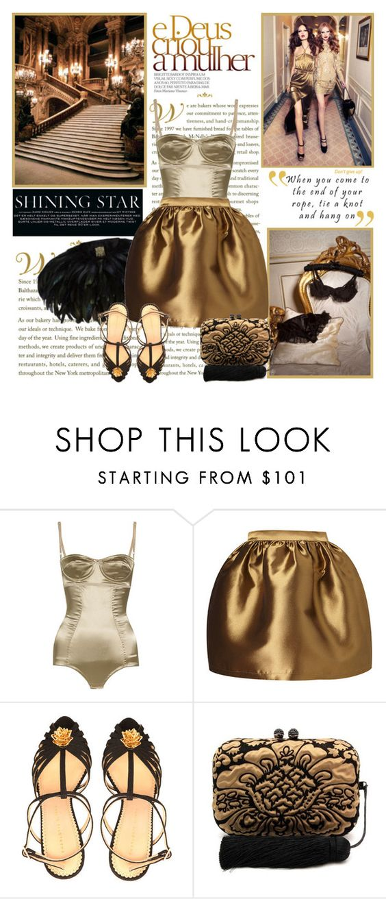 """""""Golden luxury---"""" by milagros93thebest ❤ liked on Polyvore featuring Chanel, Dolce&Gabbana, Charlotte Olympia and KOTUR"""