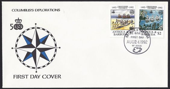 Antigua First Day Cover Scott #1599-1600 (29 Aug 1992) Omnibus issue of OECS: Discovery of America and Organization of East Caribbean States emblems, Columbus coming ashore; Columbus' ships and native people.