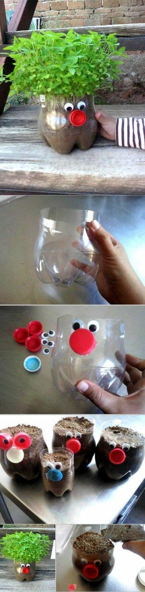 bricolage-avec-bouteille-plastique-pot-de-fleur-avec-bouteille-recyclage-d'objets