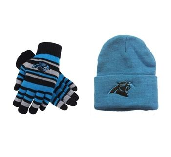 Stay warm with the Panthers Blue Cuffed Beanie and the Panthers Stretch Gloves!