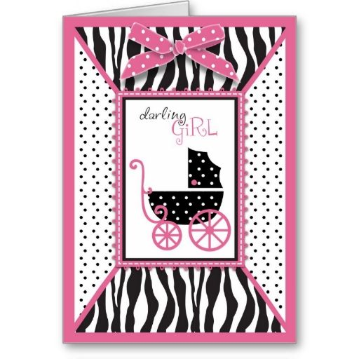 Zebra Print and Baby Carriage Baby Shower Cards