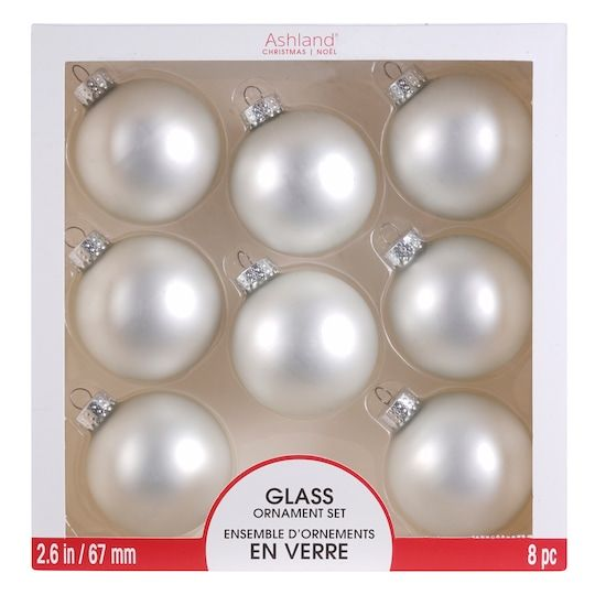 Find The 8ct Matte White Glass Ball Ornaments By Ashland 2 6 At Michaels Glass Ball Ornaments Ornament Set Glass Ornaments